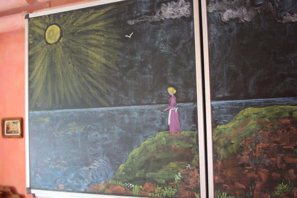 Vergängliches Kreidekunstwerk an einer Schultafel in der Karl-Schubert-Schule. Foto: Ernst-Ulrich Kneitschel