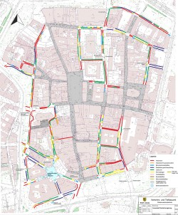 Die geplanten Maßnahmen des Verkehrs- und Tiefbauamtes in der Innenstadt. Karte. Stadt Leipzig