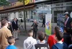 Kundgebung am Brühl in Gedenken der jüdischen Sportvereine. Foto: Alexander Böhm
