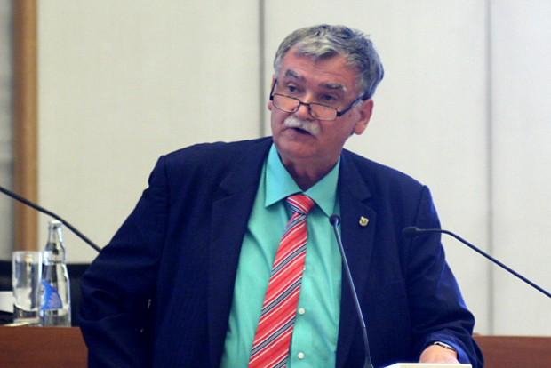 Linke-Stadtrat Siegfried Schlegel am Rednerpult in der Ratsversammlung. Foto: Sebastian Beyer