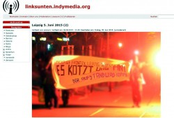 Klare Ausrichtung der Krawalle am 5. Juni 2015. Gegen G7, Troika und Asylpolitik in Europa und Sachsen. Die Bilder wurden anschließend anonym bei Indymedia hochgeladen. Screenshot von indymedia