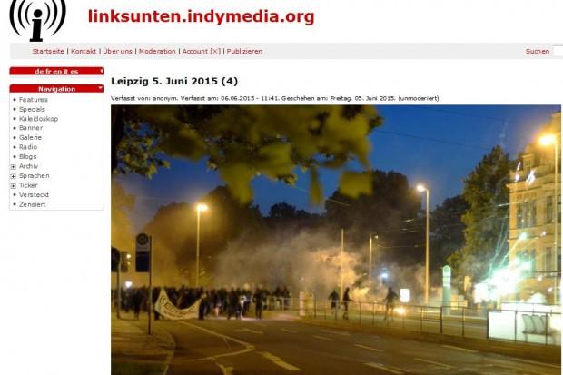 Verschärfte Widersprüche und Gewalt in Leipzig. Am 5. Juni knallt es auf dem Innenstadtring, als rund 100 Personen mit Pyrotechnik und Steinen gegen die Polizei losgehen. Screenshot von indymedia