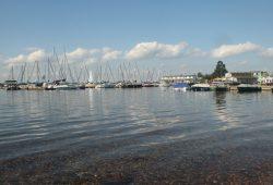 Noch ist das Wasser sauber: Segelboote am Pier auf dem Cospudener See. Foto: Ralf Julke