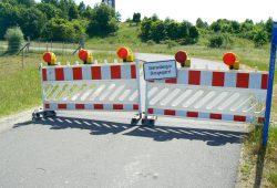 Sperrung des Rundweges in Höhe der Bistumshöhe. Foto: LMBV
