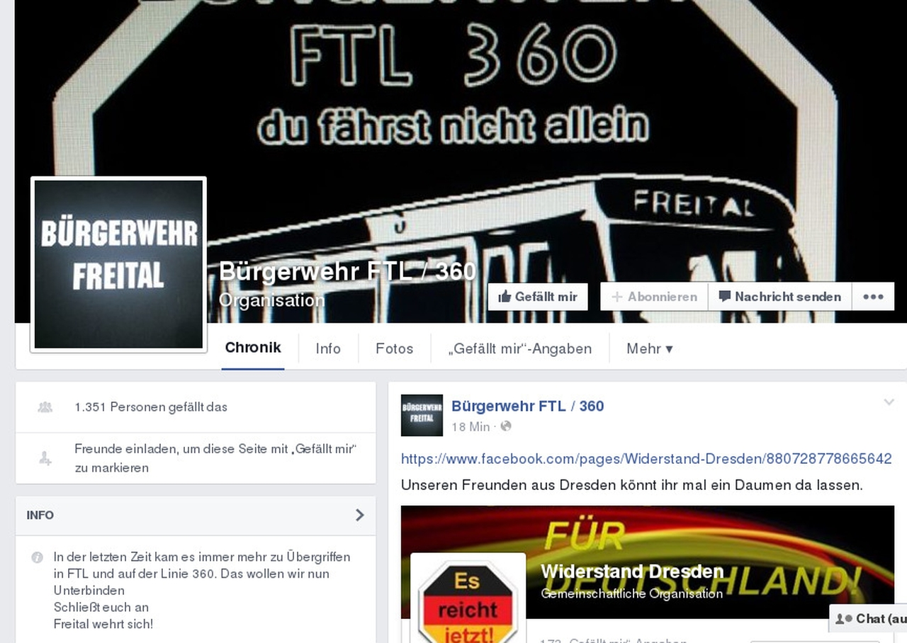Facebook-Seite der Bürgerwehr Freital. Quelle: Facebook