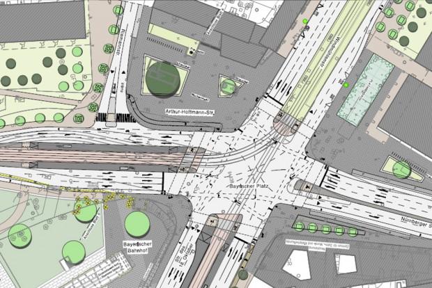 Mögliche künftige Verkehrsraumaufteilung am Bayrischen Platz. Karte: Stadt Leipzig