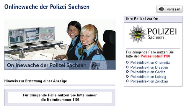 Die Onlinewache der Sächsischen Polizei. Quelle: Polizei Sachsen