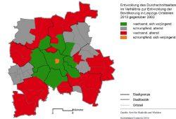 Leipzigs Wachstum in Farbe: Die Mitte verjüngt sich, die Randbezirke altern stärker. Grafik: Stadt Leipzig, Sozialreport 2014