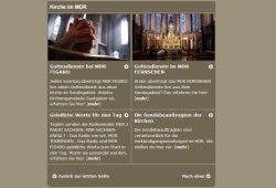 Website des MDR: Gottesdienste auf Sendung. Screenshot: L-IZ