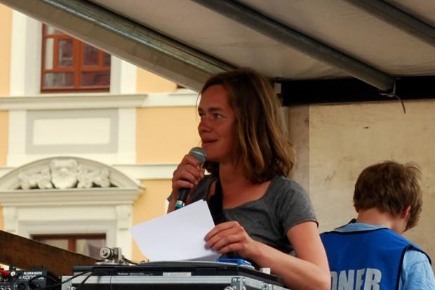 Juliane Nagel auf der GSO 2015 zur Flüchtlingspolitik in Sachsen. Foto: Michael Freitag