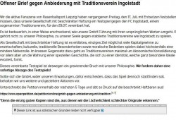 Offener Brief der Red Aces. Foto: Screenshot