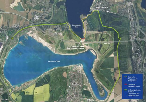 Die weiträumigen Umfahrungen für die gesperrte Baustelle am Südufer des Cospudener Sees. Karte: LMBV