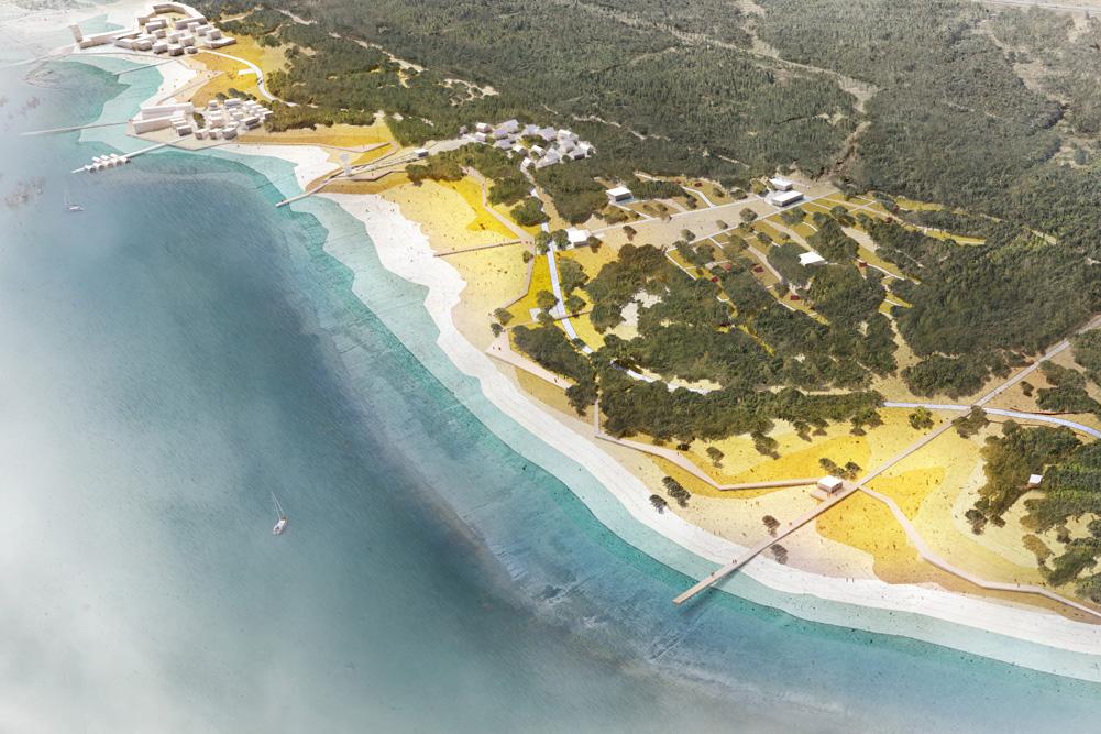 Vogelperspektive auf den Planbereich des Nordstrands am Zwenkauer See. Visualisierung: ZV Neue Harth
