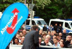 Die AfD im Jahr 2014 mit teils ausgefallenen Thesen auf Wahlkampftour (hier auf dem Simsonplatz Leipzig). Foto: L-IZ.de