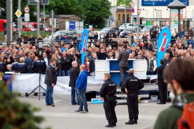 Moderatere Zeiten bei der AfD 2014. Bernd Lucke am 9. Mai in Leipzig. Foto: L-IZ.de