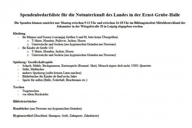 Die Bedarfsliste der Johanniter aus der Ernst Grube Halle. Quelle: Johanniter Facebook