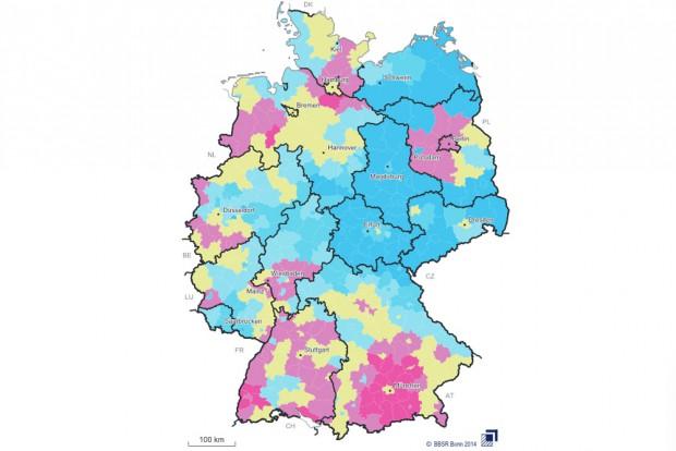 """Bevölkerungsprognose des BBSR bis 2035 - die Werte für Mitteldeutschland sind eindeutig zu """"blau"""". Grafik: BBSR"""