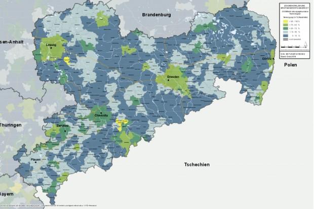 Leitungsgebundener Breitbandausbau in Sachsen. Karte: Bundesministerium für Verkehr und digitale Infrastruktur / Breitbandatlas