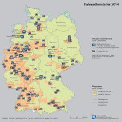 Fahrradhersteller in der Bundesrepublik. Karte: Leibniz-Institut für Länderkunde