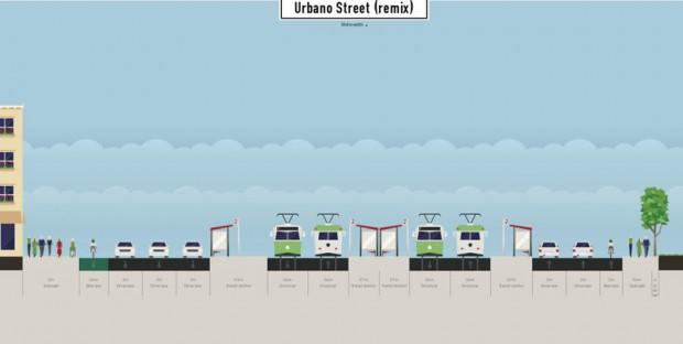 Die ganz kleine Lösung: Nur direkt vor dem Hauptbahnhof wird eine Fahrspur als Radfahrstreifen umgewidmet. Grafik: Alexander John / ADFC Leipzig