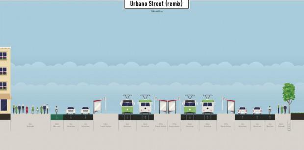 Die kleine Lösung: Jeweils eine Fahrbahn in jeder Fahrtrichtung wird in einen Radfahrstreifen umgewandelt. Grafik: Alexander John / ADFC Leipzig