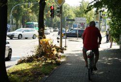 Die im Schatten sieht man nicht: Radfahrer kurz vor der Kreuzung Max-Liebermann-Straße / Virchowstraße. Foto: Ralf Julke