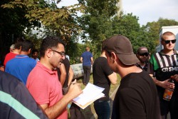 Namenslisten der Flüchtlinge wurden für den juristischen Beistand benötigt. Foto: Alexander Böhm