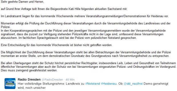 Mitteilung der Behörde. Quelle: Radio Dresden