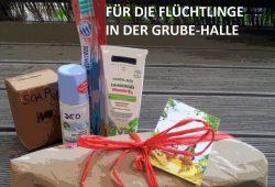 Willkommenspakete für die Flüchtlinge in der Ernst Grube Halle. Foto: Fjällsangels, Facebook