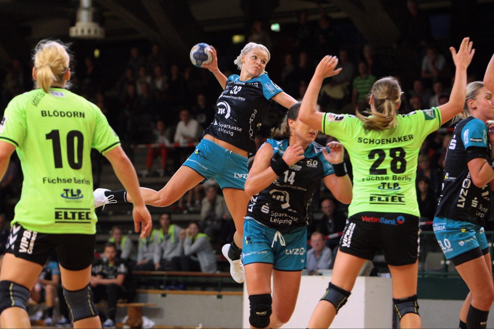 Neuzugang Shenia Minevskaja war in ihrem ersten Pflichtspiel für den HCL gleich fünfmal erfolgreich. Foto: Sebastian Brauner