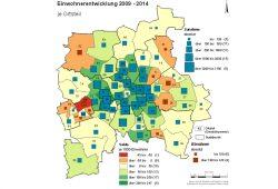 Leipzigs Bevölkerungswachstum der letzten fünf Jahre: Nur am Rand gibt's noch rote Flecken. Karte: Stadt Leipzig, Amt für Statistik und Wahlen