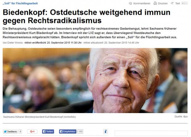 Die Online-Ankündigung der LVZ zum Biedenkopf-Interview. Screenshot: L-IZ