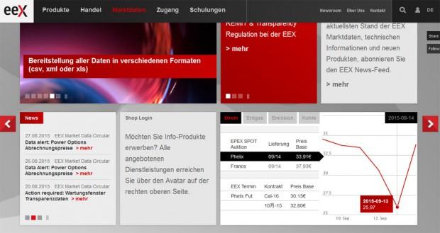 Ein Blick auf die Börsenpreise der EEX am Montag, 14. September. Screenshot: L-IZ
