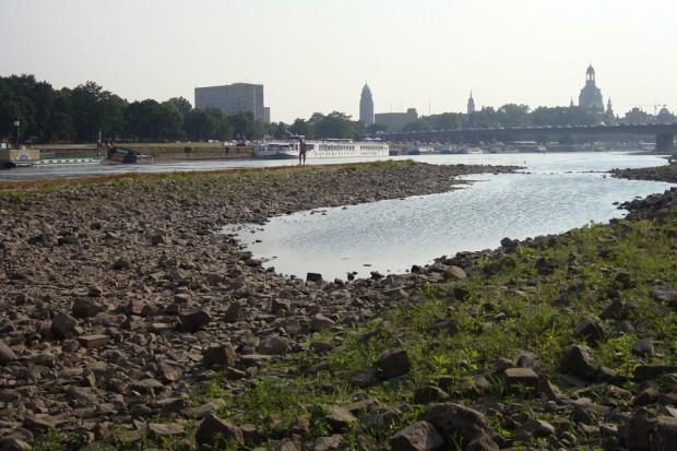 Das Niedrigwasser der Elbe am 13. August 2015. Foto: GRÜNE Landtagsfraktion Sachsen