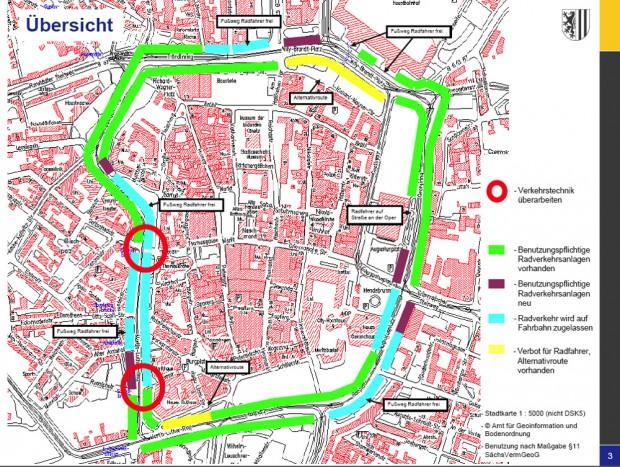 """So sollte der Ring ursprünglich 2010 beschildert werden. Straßenverkehrsbehörde und Polizei hatten sich nach der Anhörung darauf verständigt, dass in Teilen das Radfahren auf dem Promenadenring zugelassen wird, da ein Verbot unverhältnismäßig ist und keine Alternativen bestehen. Daraus wurde dann """"der geheime Rathausplan"""", den der Oberbürgermeister zurückgezogen hat. Heute ist dort, wo das Radfahren auf der Fahrbahn erlaubt werden sollte, ein Radfahrverbot angeordnet. Vor den Höfen am Brühl und am Hauptbahnhof (höchste Kfz-Belegung) ist das Fahren auf der Fahrbahn allerdings erlaubt. Karte: Stadt Leipzig"""