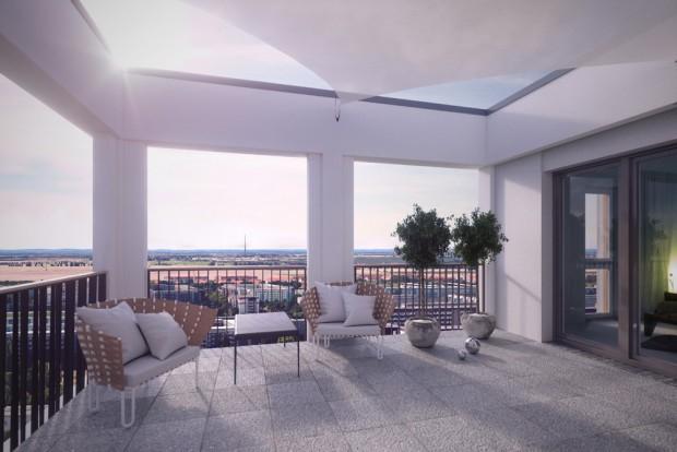 So sollen die Dachterrassen aussehen. Visualisierung: Die Ansicht des neuen Hochhauses von der Gartenseite her. Visualisierung: Fuchshuber Architekten