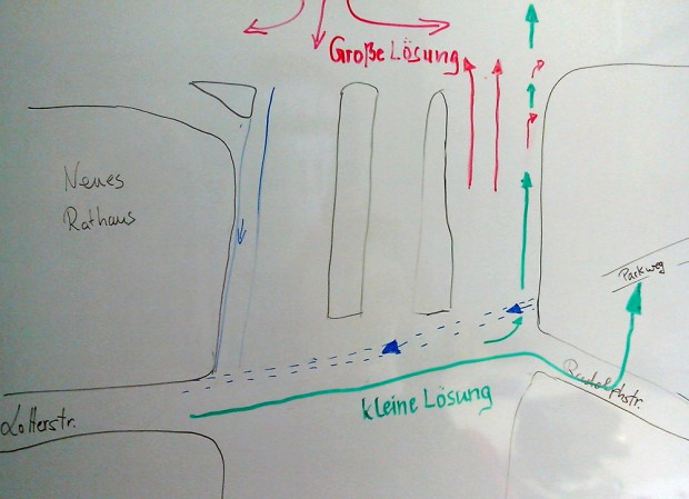 Die große Lösung: Durch die Reduzierung der Fahrspuren (rot) wird auf dem Martin-Luther-Ring Platz für den Fuß- und Radverkehr gewonnen. Die Gehwege können dem hohen Fußverkehrsaufkommen angemessen breit gestaltet werden. Es führt nur noch eine Fahrspur in Richtung Harkortstraße, wodurch auch Platz für einen Radfahrstreifen im Straßenzug Harkortstraße - Floßplatz - Dufourstraße gewonnen wird. Der rechtsabbiegende Kfz-Verkehr teilt sich eine Fahrspur mit dem geradeausfahrenden Radverkehr (Kombispur). Grafik: ADFC Leipzig / Alexander John
