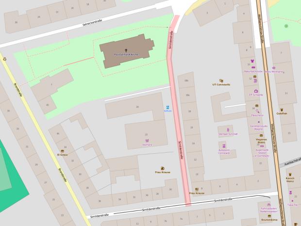 Betroffener Teil der Simildenstraße. Karte: Openstreetmap