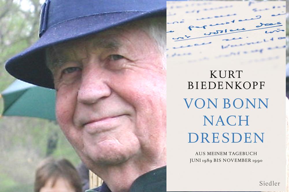 """Kurt Biedenkopf und das Cover des ersten Tagebuchbandes """"Von Bonn nach Dresden"""". Foto: Ralf Julke / Cover: Siedler Verlag"""