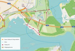 Der Ökolöwe hatte schon 2014 die zwei notwendigen Brückenbauwerke für den Zwenkauer See skizziert - die Erikenbrücke ist oben gestrichelt dargestellt. Grafik: Ökolöwe