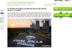 Greenpeace Schweden verkündet offiziell seine Kaufabsichen für Vattenfalls Kohlesparte. Screenshot: L-IZ