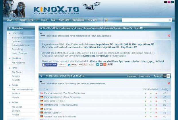 Das illegale Streaming-Portal kinox.to ist bis heute online. Foto: Screenshot
