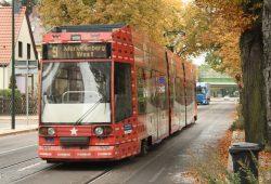 Bald ein Bild der Vergangenheit: Die Linie 9 in der Breitscheidstraße in Markkleeberg. Foto: Ralf Julke