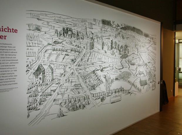 """In der Ausstellung """"1015. Leipzig von Anfang an"""" im Stadtgeschichtlichen Museum zu sehen: die Stadtansicht von 1547. Foto: Karsten Pietsch"""