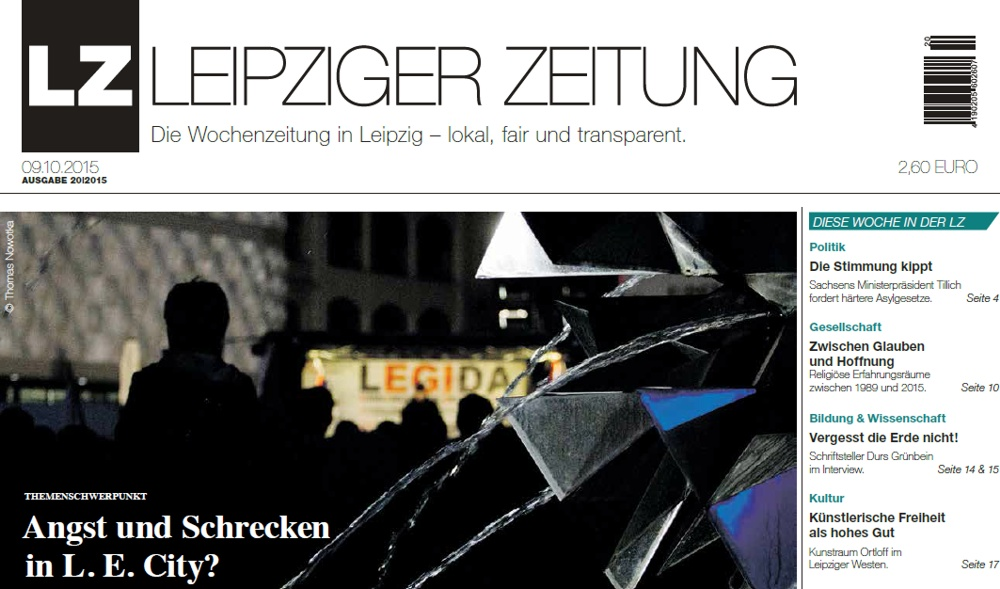 Breiter geworden. Die Leipziger Zeitung gibt es immer Freitags überall, wo es Zeitungen in Leipzig gibt. Screen Titel LZ Ausgabe 20