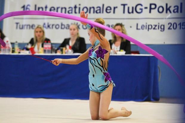 16. Internationaler TuG-Pokal 2015: Joline Saupe (TuG Leipzig) mit dem Band. Foto: Jan Kaefer