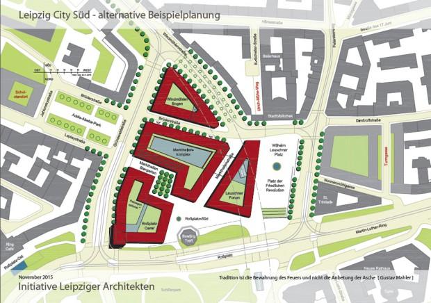 Der Entwurf zeigt einen klar strukturierten Wilhelm-Leuschner-Platz und ein kompaktes Quartier City-Süd / Markthallenviertel. Grafik: Initiative Leipziger Architekten