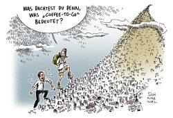 Coffee-to-go. Karikatur: Schwarwel