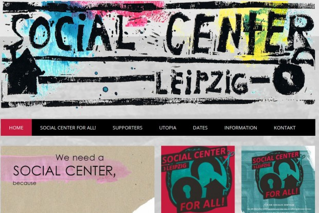 "Screenshot der Homepage vom ""Social Center Leipzig""."