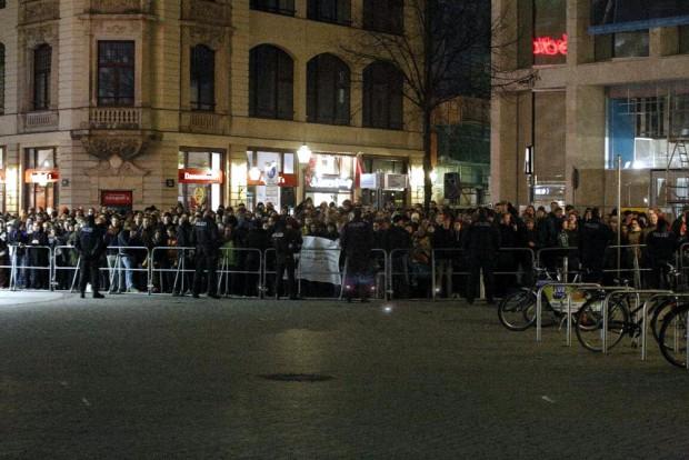 Gegenprotest an der Hainspitze. Foto: L-IZ.de